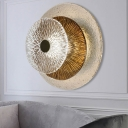 3 Tiers Disc Wall Mounted Lighting Modern Clear Glass and Cognac Glass 1 Light Wall Lamp