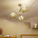 3 Lights Branch Hanging Ceiling Light with Metal Nest and Egg White Glass Shade Modern Suspension Light