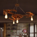 Exposed Bulb Dining Room Pendant Lighting Vintage Metal 4 Bulbs Antique Bronze Chandelier Lamp with Gear
