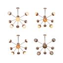 White/Clear/Amber Glass Sputnik Semi Flush Mount Modern 9/12/15 Lights Semi Flush Ceiling Light in Copper/Chrome/Gold for Living Room