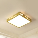 Square Bedroom Flush Light Fixture Modern Metal Simple Style LED Ceiling Mounted Light in Gold, Warm/White Light