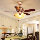 Brass 3 Lights Ceiling Fan Lighting Traditionalism Sandblasted Glass Bell Semi Flush Mount Light for Kitchen