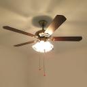Ivory Glass Scalloped Ceiling Fan Lighting Retro 3 Bulbs Living Room Semi Flush Mount Light Fixture in Gold