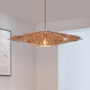 Flat Pendant Lighting South-East Asia Wood 1 Head Beige Hanging Light Fixture with Cutout