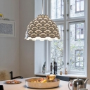 Modernist 1 Head Pendant Light White Bowl Ceiling Suspension Lamp with Metal Shade
