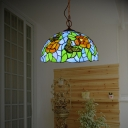 Stained Glass Red/White Pendant Lighting Flower 1 Light Tiffany Style Hanging Light Fixture