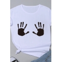 Womens Creative Black Handprint Pattern Short Sleeve Crew Neck Cotton T-Shirt