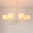 Spherical Pendant Chandelier 3/5/8 Lights Shell Tiffany Stylish Hanging Light Fixture in White for Living Room