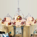 Cut Glass White Chandelier Light Fixture Petal 3/5/9 Lights Tiffany Ceiling Lamp for Dining Room
