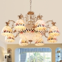 Domed Chandelier Light Fixture 3/5/9 Lights Shell Mediterranean Hanging Lamp Kit in White for Living Room