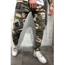 New Stylish Camouflage Printed Badge Applique Street Style Jeans Skinny Pants