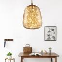 Elliptical Pendant Lighting Modernist Amber Glass LED Bedroom Hanging Ceiling Light