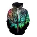 Unisex Creative Tree 3D Pattern Long Sleeve Casual Pullover Hoodie