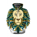 Stylish Cartoon Lion Head 3D Print Long Sleeve Green and Yellow Oversized Hoodie