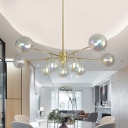 Modernist 10 Bulbs Ceiling Chandelier Gold Bubble Hanging Pendant Light with Clear Glass Shade