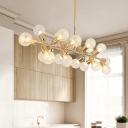 Clear Lattice Glass Ball Island Lamp Modernism 18 Heads Gold Ceiling Pendant Light