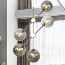 Round Hanging Chandelier Modernist Amber/Smoked Glass 5 Bulbs Bedroom Ceiling Suspension Lamp
