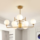 Gold Sphere Hanging Chandelier Modernist 8 Bulbs Frosted White Glass Ceiling Pendant Light