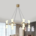 Modern Flared Chandelier Lighting Gold 6 Bulbs Hanging Ceiling Light with White Glass Shade