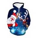 Cute Cartoon Santa and Elk 3D Printed Long Sleeves Dark Blue Drawstring Hoodie