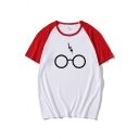 Classic Glasses and Flash Pattern Raglan Short Sleeve Round Neck Loose Fit Summer T-Shirt