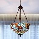 Stained Glass Blossom Chandelier Light Tiffany 2 Bulbs Blue/Red Down Lighting for Living Room