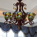 6 Lights Bedroom Chandelier Lighting Tiffany Red/Yellow/Blue Ceiling Pendant with Flared Hand Cut Glass Shade