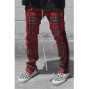 Simple Color Block Plaid Pattern Side Tape Drawstring Waist Slim Fit Casual Sport Pants