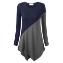 Trendy Simple Long Sleeve Round Neck Contrasted Asymmetric Hem Slim Fit T Shirt for Women
