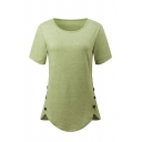 Simple Women's Short Sleeve Crew Neck Button Side Curved Hem Plain Loose Fit Tee