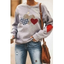 Fashion Women's Long Sleeve Crew Neck Leopard Plaid Heart Printed Loose Gray Pullover Sweatshirt
