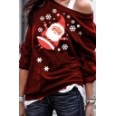 Fancy Girls' Long Sleeve Drop Shoulder Santa Claus Snow Pattern Loose Fit Pullover Christmas Sweatshirt