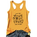 Fashionable Letter PLANT THESE SAVE THE BEES Printed Sleeveless Racer Back Graphic Tank