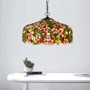 Flower Chandelier Pendant Light 3 Lights Pink/Green Stained Glass Victorian Hanging Ceiling Light for Dining Room