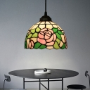 1 Light Suspension Light Tiffany Blossom Red/Pink/Green Cut Glass Hanging Lamp Kit for Living Room