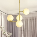 White Glass Global Hanging Chandelier Contemporary 4 Heads Ceiling Pendant Light in Gold