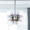 Modernist 9 Heads Chandelier Light Chrome Ball Pendant Lighting Fixture with Smoke Glass Shade