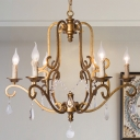 Brass Candlestick Chandelier Lighting Fixture Minimalist 6 Lights Crystal Dining Room Pendant Lamp