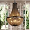 8 Lights Metallic Chandelier Light Fixture Countryside Gold Chain Fringe Dining Room Pendant Lamp