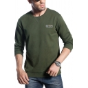 Men's Casual Letter Printed Long Sleeve Crew Neck Thick Pullover Sweatshirt