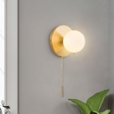 Minimalism 1 Bulb Wall Lamp Gold Ball Sconce Light Fixture with Opal Frosted Glass Shade