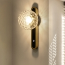 Ball Wall Lighting Contemporary Clear Dimpled Blown Glass 1 Head Bedside Sconce Light Fixture