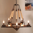 5 Lights Chandelier Lighting Antique Open Bulb Metal Pendant Light Fixture in Black/Rust for Restaurant