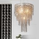 Metal Silver Ceiling Chandelier Tiered 6 Lights Rustic Pendant Light Fixture for Bedroom