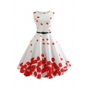Boutique Women's Sleeveless Boat Neck Petal Pattern Buckle Belted Midi Pleated Flared Dress in White