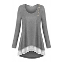 Ladies' Basic Long Sleeve Round Neck Button Front Lace Trim Plain Relaxed T-Shirt