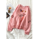 Cute Pink Long Sleeve Crew Neck Letter THE EDITOR Graphic Loose Fit Pullover Sweatshirt for Girls