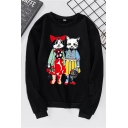 Preppy Girls' Long Sleeve Crew Neck Kitty Pattern Relaxed Pullover Sweatshirt