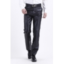 Cool Fashion Black PU Leather Zipper Placket Straight Fit Men's Pants