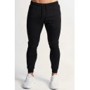 Sport Fashion Plain Zipper Pocket Skinny Fit Drawstring Sweatpants for Men